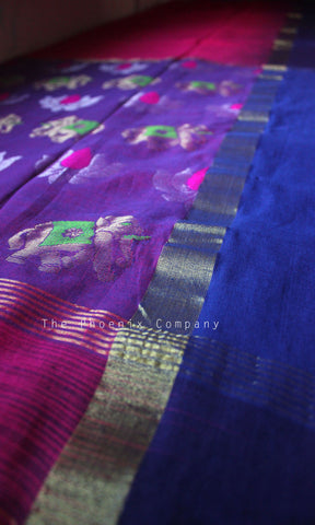 Elephant & Lotus Pink Soft Cotton Handloom Saree