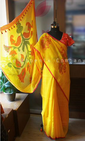Yellow Linen Saree With Jamdani Work