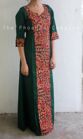 Green Printed Kalamkari Dress