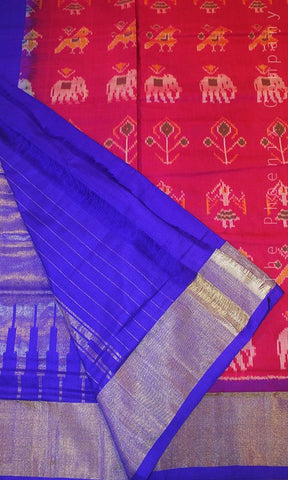 Deep Pink & Electric Blue Handloom Ahimsa Silk Saree
