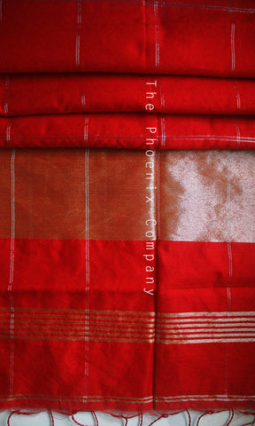 Red Checks Jute Silk & Cotton Saree
