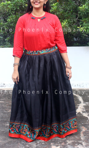 Black Long Skirt with Peacock Border