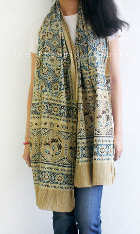 Ajrakh Light Brown & Blue Stole