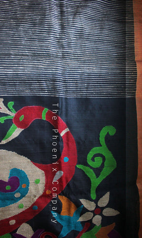 Black Peacock Bamboo Silk Handloom Saree