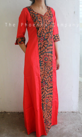 Red Printed Kalamkari Dress