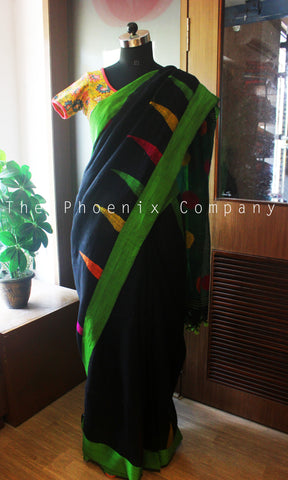Black & Green Linen Saree With Jamdani work