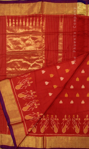 Deep Red Ahimsa Silk Saree