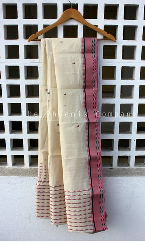 Off-White With Pink Cotton Saree