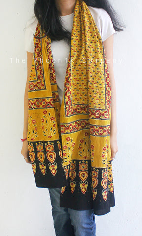 Ajrakh Bright Ochre Floral Stole