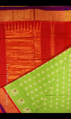 Parrot Green & Red Handloom Ahimsa Silk Saree