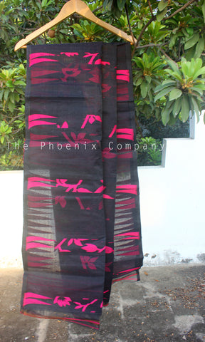 Black & Pink Cotton Saree