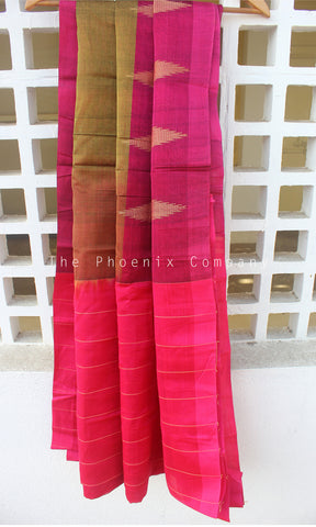 Dark Olive & Deep Pink Cotton Saree