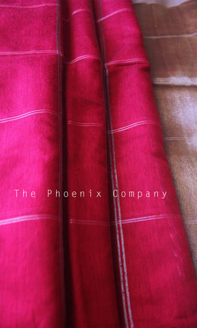Pink Checks Jute Silk & Cotton Saree