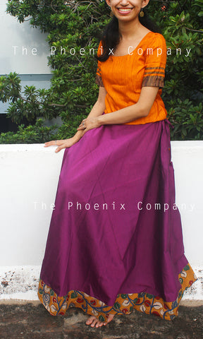 Deep Purple Skirt with Kalamkari Border