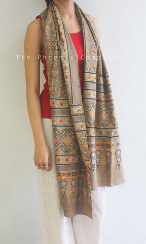Ajrakh Light Brown & Orange Stole