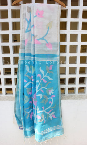 White & Blue Pineapple Fibre & Cotton Saree