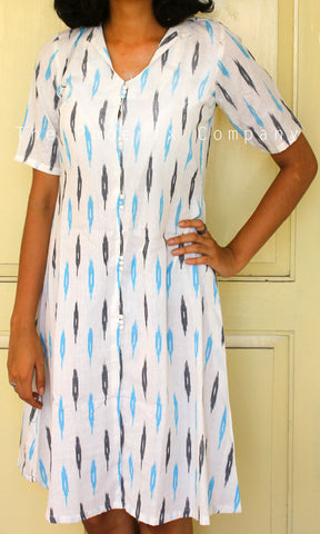 White ikat Dress (Thin Collar)