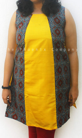 Yellow Kurta With Ajrakh Patchwork