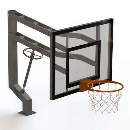 Single Post Adjustable 6'-10' Basketball Hoop
