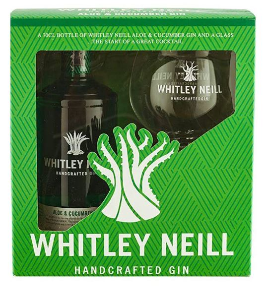 Whitley Neill Aloe & Cucumber Gin Gift Pack with Glass - thedropstore.com