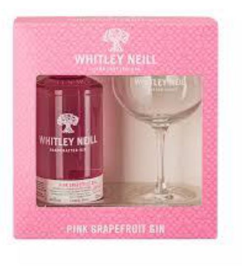 Whitley Neill Pink Grapefruit Gin Gift Pack with Glass - thedropstore.com