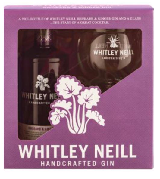 Whitley Neill Rhubarb & Ginger Gin Gift Pack with Glass - thedropstore.com