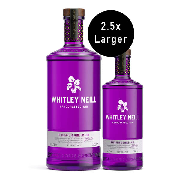 Whitley Neill Rhubarb & Ginger Gin Extra Large 1.75 Litre - thedropstore.com