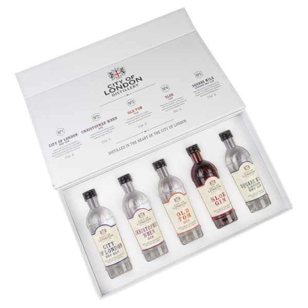 City of London Distillery Gin Taster Selection 5 Pack of Miniatures - thedropstore.com