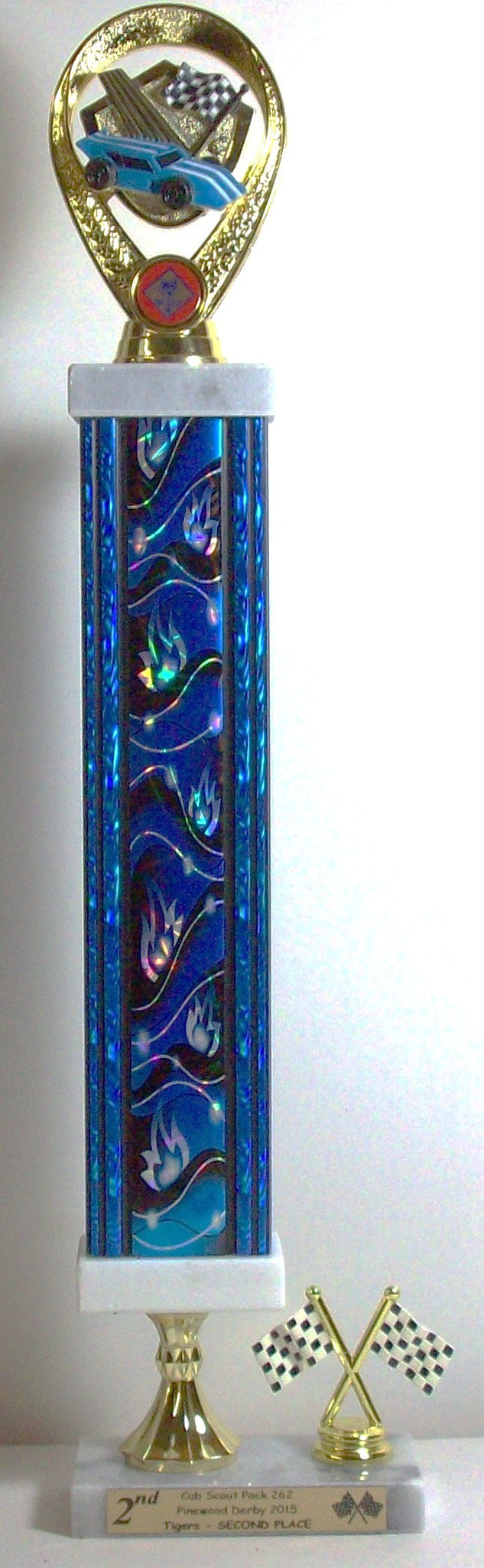 Pinewood Derby Trophy With Blue Flames