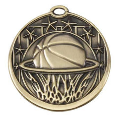 Star Series Sport Medals with ribbon- 2 inch medal - Basketball