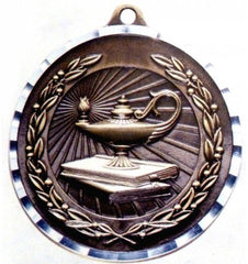 Victory Trophy Medals - Lamp Of Knowledge - 2 inch Medals diamond cut