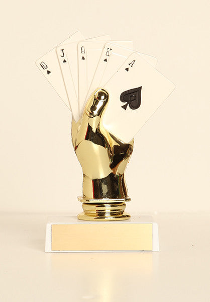"Color Poker Hand Figure on Base 6"" Trophy"