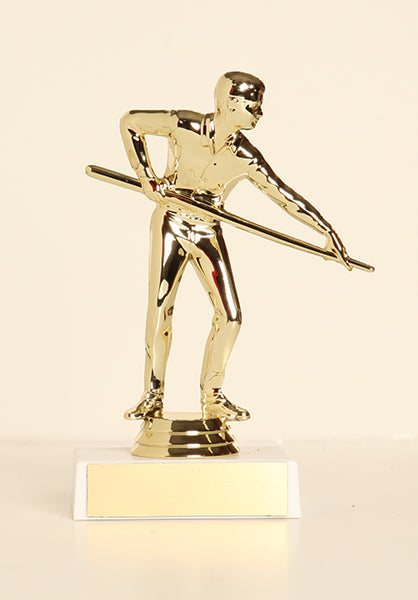 "Male Pool Shooter Figure on Base 6"" Trophy"