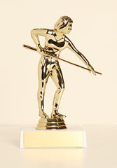 "Female Pool Shooter Figure on Base 6"" Trophy"