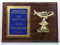 9 x 12 Cherry Finish Plaque with Metal Bluefish Mounted