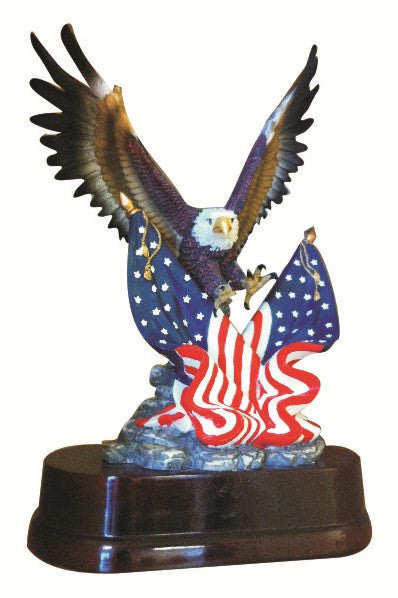 Eagle with two Flags, Painted 11 inch