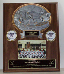 12 x 15 Oak Finish Hockey Plaque