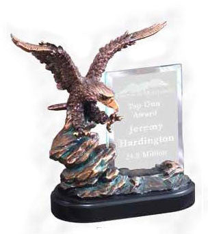Bronze Eagle Sculpture With Glass Engraving Plate