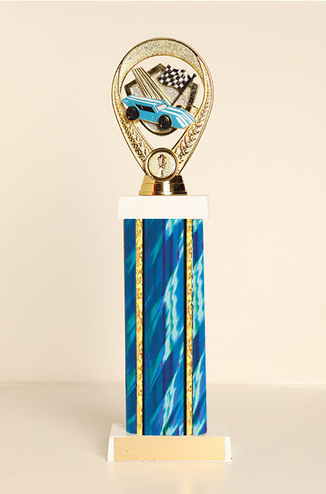 Racecar / Pinewood Derby Square Column Trophy