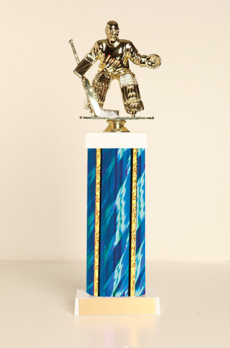 Male Hockey Goalie Square Column Trophy