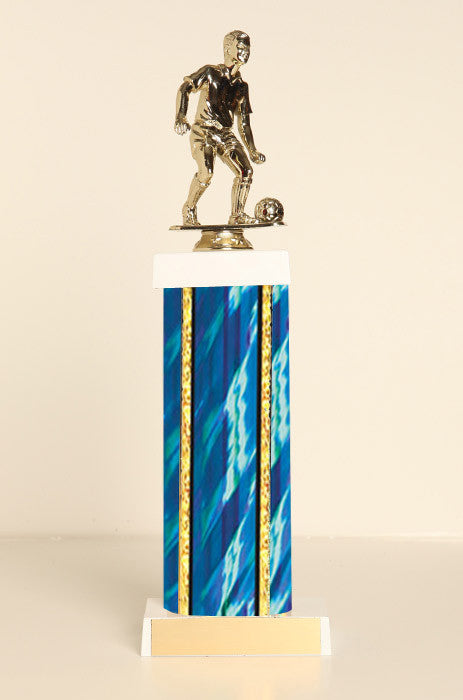 Male Soccer Square Column Trophy
