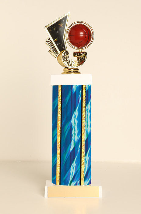 Spinning Basketball Square Column Trophy