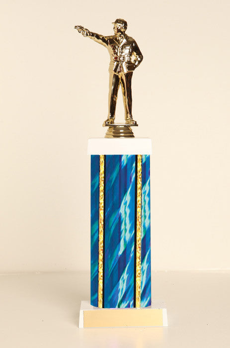 Civilian Pistol Shooter Square Column Trophy