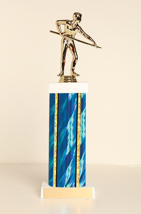 Male Pool Shooter Square Column Trophy