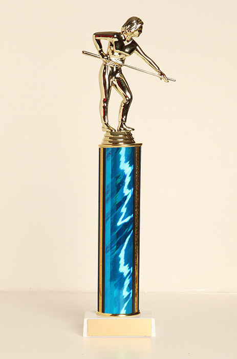 Female Pool Shooter Tube Trophy