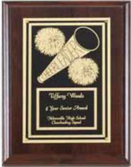 Cherry Finish Cheerleader Plaque 6 inch x 8 inch