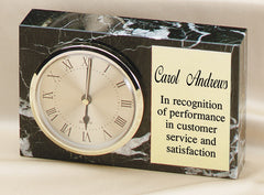 Genuine Marble Rect. Clock 6-3/4 inch x 4-1/4 inch