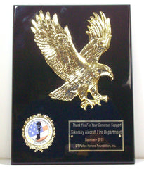 9 x 12 Ebony Piano Finsh Plaque with Large Gold Eagle