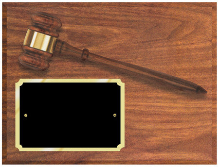 Walnut Finish Gavel Plaque 9 inch x 12 inch