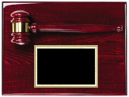 Rosewood Finish Gavel Plaque 9 inch x 12 inch